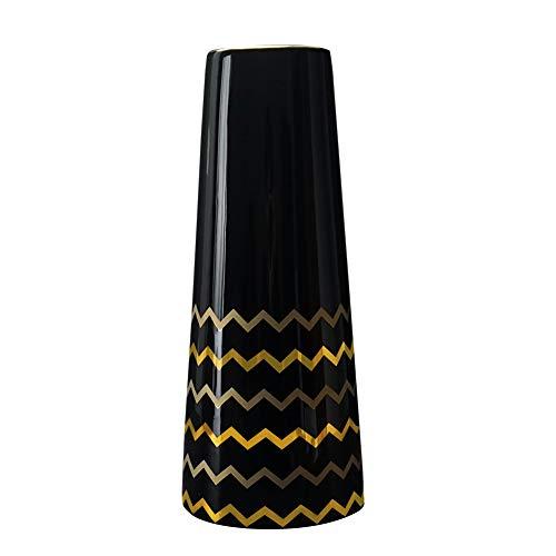 HCHLQLZ 30cm Negro Dorado Decorativos Modernos Ceramica Jarrones de Flores para Mesa de Comedor Sala de Estar Idea Regalo para Cumpleanos Boda Navidad