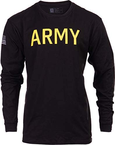 Army PT Style Shirt U S Military Physical Training Infantry Workout Long Sleeve T Shirt Black product image