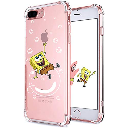 Allsky Case for iPhone 7 Plus/8 Plus 5.5',Clear Cartoon Design Pattern Soft Cute Fun Ultra-Thin Cover,Kawaii Kids Girls Teens Animal Skin Creative Shockproof Funny.Cases for iPhone 7/8 Plus SpongBob