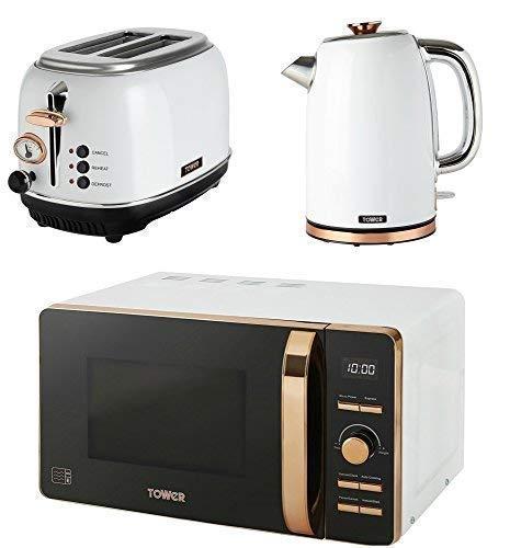 TOWER Kitchen Appliance Retro Stylish Set - ROSE GOLD & WHITE Digital 20 Litre Microwave, ROSE GOLD & WHITE 1.7 Litre Jug Bottega Kettle & ROSE GOLD & WHITE Bottega 2 Slice Toaster