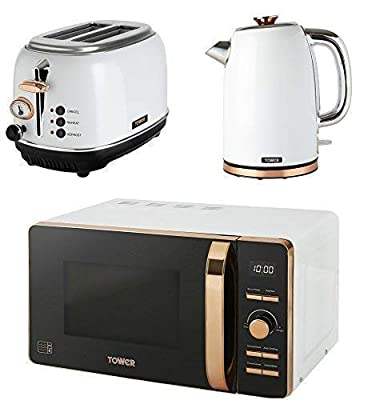 TOWER Kitchen Appliance Retro Stylish Set - ROSE GOLD & WHITE Digital 20 Litre Microwave, ROSE GOLD & WHITE 1.7 Litre Jug Bottega Kettle & ROSE GOLD & WHITE Bottega 2 Slice Toaster
