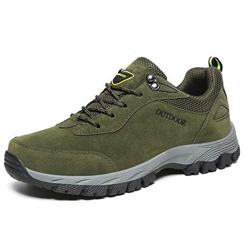 JIANKE Scarpe Trekking Uomo Sportive Antiscivolo Escursionismo All'aperto Sneakers (43.5 EU, Verde)