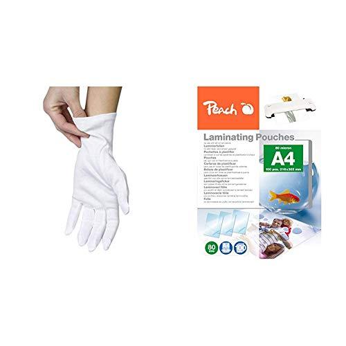 Papstar Baumwollhandschuhe/Stoffhandschuhe Größe L, weiß, waschbar, vielseitig verwendbar zum Eindecken, Polieren, Archivieren und mehr & Peach PP580-02 Laminierfolien, DIN A4, 80 mikron, 100 Stück