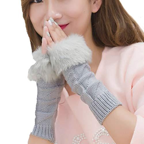 Ushiny - Guanti invernali da donna in finta pelliccia lavorata a maglia, guanti da polso senza dita per pollice Grigio Taglia unica