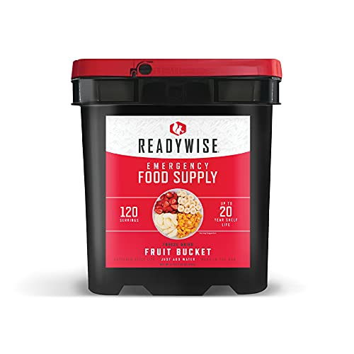 ReadyWise Emergency Food Supply, Freeze-Dried Survival-Food Disaster Kit, Camping Food, Prepper Supplies, Emergency Supplies, Freeze-Dried Fruit Bucket, 20-Year Shelf Life, 120 Servings, Fruits