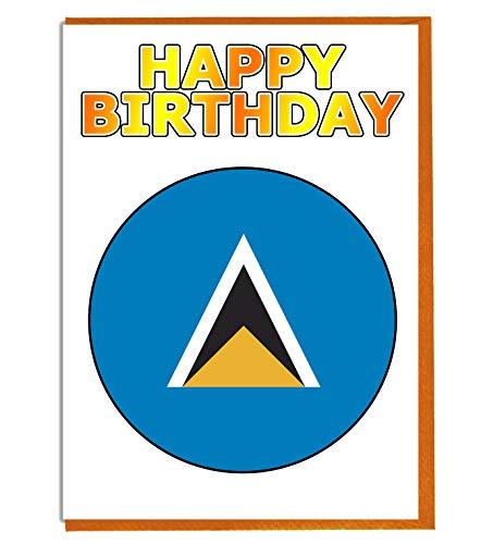 Saint Lucia-Flagge – Geburtstagskarte – Fre& – Familie – Kollege – Mate – Boss – geliebte Person
