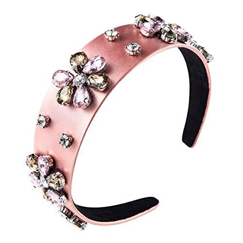 Ypkia Mujer Diademas Accesorios Cintas Conjunto De Tela De Color Liso Diamante Taladro De Vidrio De Múltiples Capas Flor Aro De Pelo Aro De Cabeza (Paquete De 2)