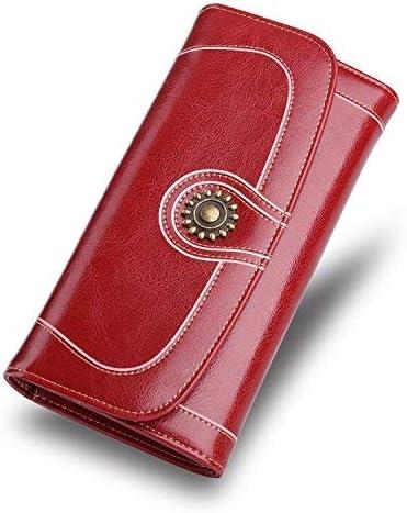 Mujeres de gran capacidad de cera de lujo de acabado liso de cuero genuino cartera titular de la tarjeta de señoras bolso de viaje-Borgoña