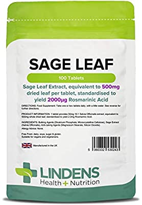 Lindens Sage Leaf 500mg Tablets | 100 Pack | Sage Leaf Extract, Equivalent to 500mg Dried Leaf Per Tablet, Standardised to Yield 2000_G Rosmarinic Acid