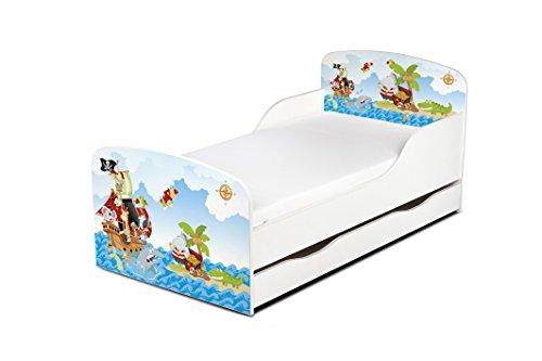 Leomark Einzelbett aus Holz - Piraten - Kinderbett mit Schubladen für Bettwäsche, Stauraum, Holzbett mit Matratze + Lattenrost, Komplett Set, Liegefläche 70/140 cm, UV-Druck