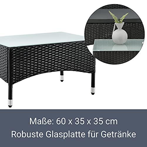 ArtLife Polyrattan Gartenmöbel-Set Fort Myers schwarz – Sitzgruppe mit Tisch, Sofa & 2 Stühlen – Balkonmöbel für 4 Personen mit grauen Auflagen - 6