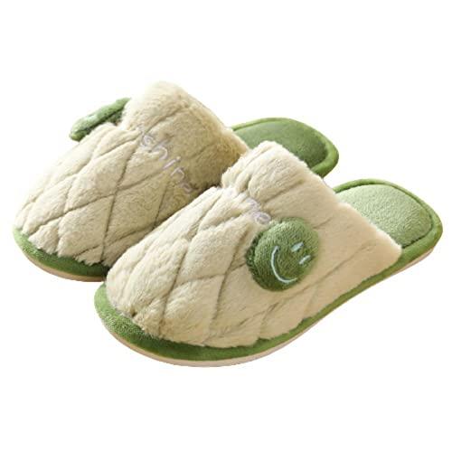 Anlemi Pantuflas Ultraligero cómodo y Antideslizante,Zapatillas de Felpa de Pareja de Moda, Antideslizantes y cálido-Verde_36-37,Zapatillas de casa de algodón orgánico