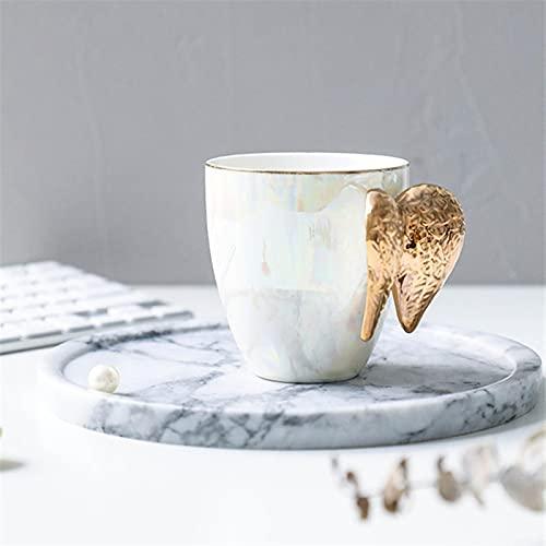 Taza Mug Café Taza De Cerámica Creativa Chapada En Oro Con Mango De Alas De Ángel, Tazas De Leche Para Café De Oficina, Taza De Agua De Porcelana Blanca, Regalo, Decoración Del Hogar