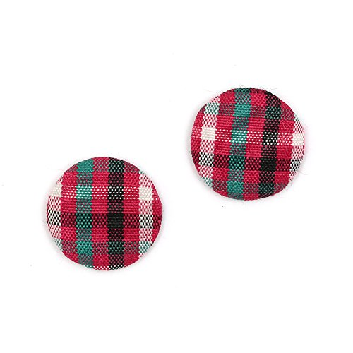 Idin Clip-on Earrings - Pink black green tartan fabric covered button clip-on earrings (approx 15 x 4 mm)