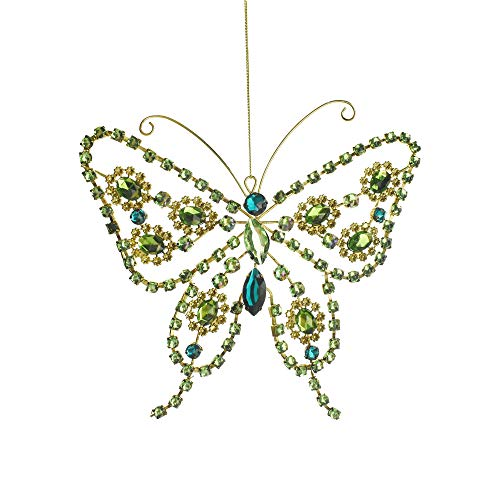 Homeford Rhinestone Butterfly Christmas Ornament, 7-Inch