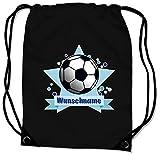 Samunshi Turnbeutel mit Motiv Fussball und Name für Jungen und Mädchen personalisierbar personalisiert mit Namen Sportbeutel für Schule Sport Sporttasche schwarz