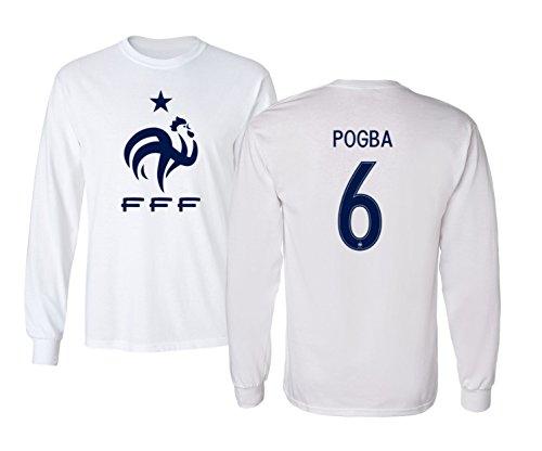 Tcamp France 2018 National Soccer #6 Paul Pogba World Championship Men's Long Sleeve T-Shirt (White, Adult Medium)