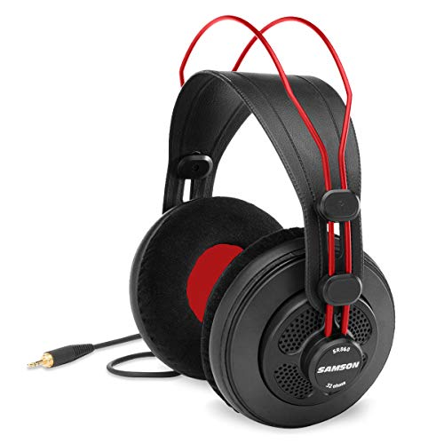 Samson SR860 Over-Ear Professional Semi-Open Studio Reference Small Headphones Headset - for Mobile Music Mixing, Monitoring, Recording & Listening - Large 50mm Neodymium Drivers Noise Cancelling