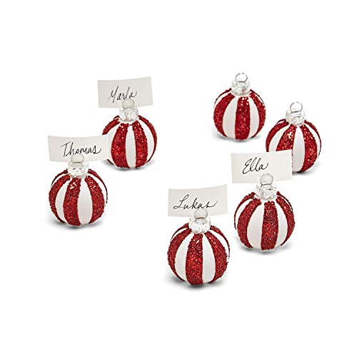Two's Company Glass Peppermint Twist Ornament Place Card Holders Set of 6
