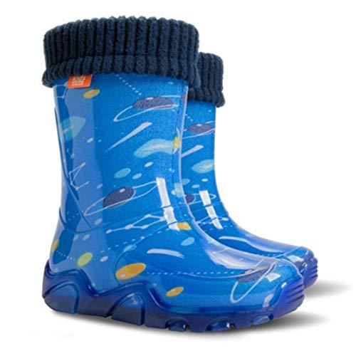 Niños Lluvia Wellington Rainy Nieve Botas Calcetines Niños Botas Space - Rosa/Amarillo Fluorescente, 10/11 UK