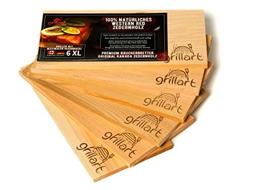 6 Pack XL Grillbretter - Zedernholzbrett zum Grillen - Räucherbretter aus Zedernholz von grillart® hergestellt aus 100% natürlichem Western Red Zedernholz für einen besonderen Grillgeschmack