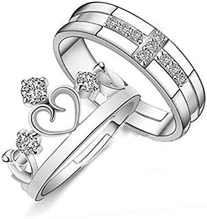خاتم التاج البسيط الإصدار الكوري مفتوح الرجال والنساء خواتم زوجين مجوهرات ريترو