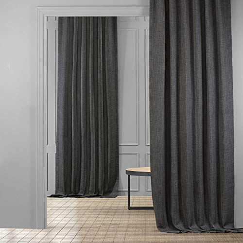 HPD Half Price Drapes BOCH-LN1854-120 Faux Linen Blackout Room Darkening Curtain (1 Panel), 50 X 120, Dark Gravel