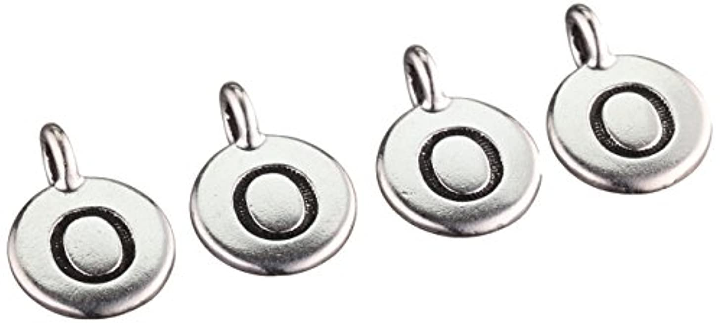 TierraCast Charm Letter O Beads, 11x16mm, Antiqued Fine Silver Plated Pewter, 4-Pack