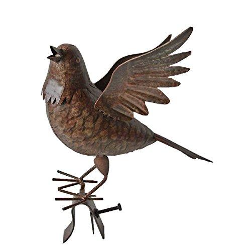 Unbekannt VARILANDO® Vogel-Gartenfiguren aus Metall in Rost-Optik in 4 hübschen Varianten Taube Kakadu Kranich Vogel Metall-Figur (Taube Fritz)