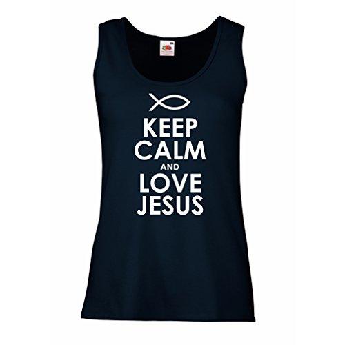 Camisetas sin Mangas para Mujer Amo a Jesucristo, Religión Cristiana - Pascua, Resurrección, Natividad, Ideas de Regalo Religioso (X-Large Azul Blanco)