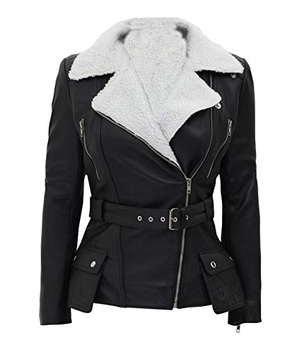 JUFAH Giacca in pelle di pecora con cintura in pelle di pecora per le donne pelliccia bianca Sherpa fodera giacca stagione invernale - nero - S