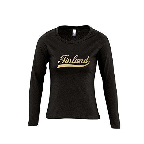 Finland Oldschool Finnland LÄNDERSHIRT EM / WM FAN Trikot - Damen Langarm Longsleeve T-Shirt S-XL , Deep black - gold , XL