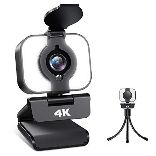 Webcam 4K, Webcam PC con Micrófono y Luz, Cámara Web con Trípode para Streaming de Medios, Video Chat y Juego, Webcam Adecuado para Youtube, Instagram, Skype, Compatible con Windows, Mac y Android