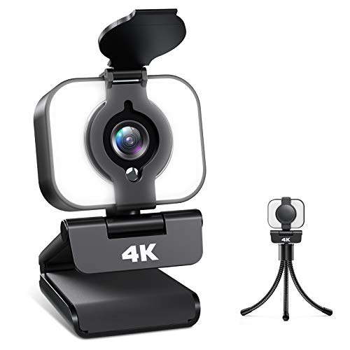 Webcam 4K, Webcam PC con Micrófono y Luz, Cámara Web con Trípode para Streaming de Medios, Video Chat y Juego, Webcam Adecuado para Youtube, Instagram, Skype, Compatible con Windows, Mac y Android