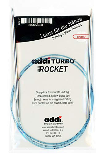 addi Circular Turbo Rocket Lace Skacel Blue Cord 40 inch (100cm) Size US 04 (3.5mm)