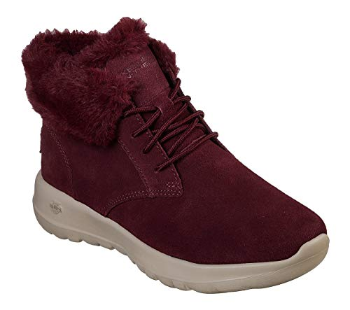 Skechers Damen Stiefeletten On-The-Go Joy Lush gefüttert Rot/Bordeaux, Schuhgröße:EUR 38