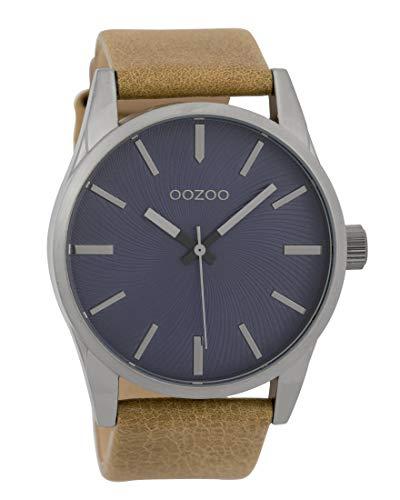 Oozoo Herrenuhr mit Lederband 45 MM Violett/Camel C9625