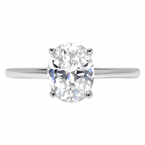 14k White Gold 1.97cttw Classic Oval Solitaire Moissanite Engagement Promise Ring Statement Anniversary Bridal Wedding Size 7