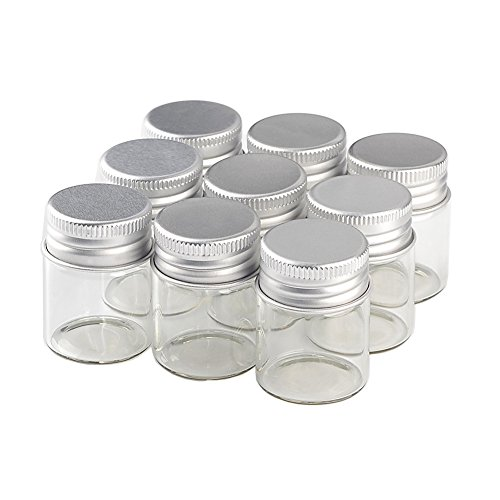 15ml 25ml 40ml 50ml 60ml Empty Seal Jars Glass Bottle with Aluminium Silver Color Screw Cap Sealed Liquid Food Gift Container (12, 15ML-LU-Cap)