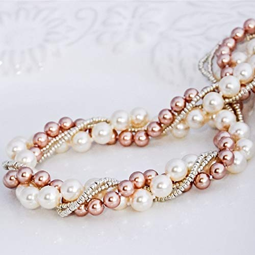 Silver Rose Gold and Cream Color Quality Faux Pearl Necklace Wedding Bridal Women's Fashion Jewelry