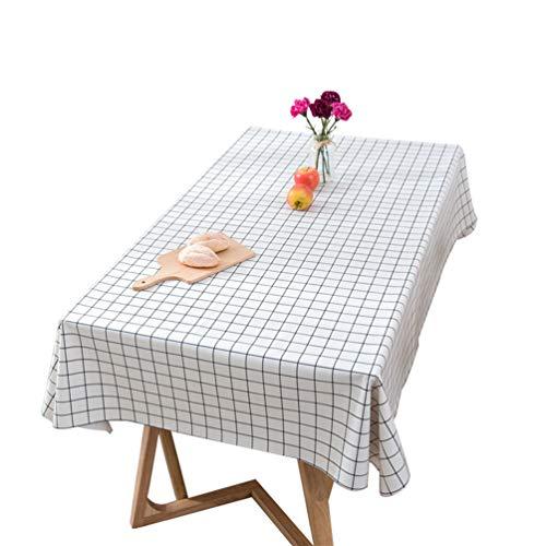Xingkee Tischdecke Tischtuch Wasserabweisend Fleckschutz abwaschbar Tischwäsche Weiß 100 * 160 cm