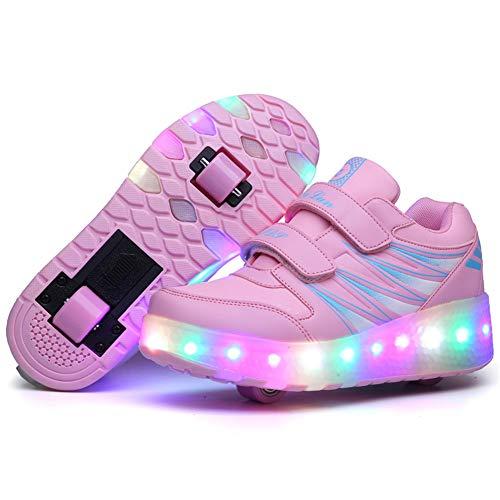 Super kids Unisex Kinder Mode LED Rollenschuhe mit Rollen LED Lichter Leuchtend Rollschuhe Outdoor Gymnastik Inline-Skates Einstellbar Doppelräder Skateboardschuhe für Jungen Mädchen