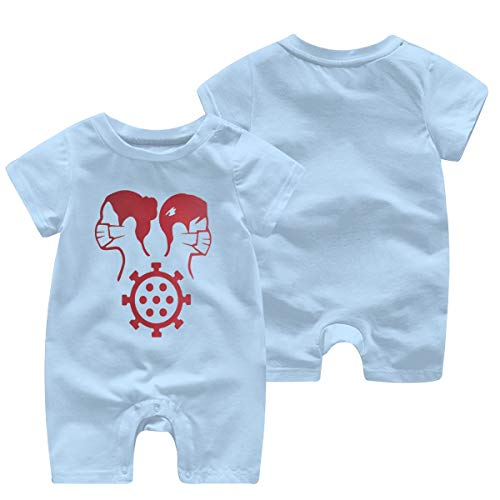 YANFAYUDIAN Together We Survived The C-oronavirus of 2020 Baby Short Sleeve Jumpsuit Baby Short Shirt Baby Romper Sky Blue