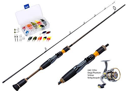 Ultralight Angelset komplett Ready for Fishing ! Alpha 180cm UL-Carbonrute + Angelrolle Exp500 mit Schnur + Köderset. Spinnrute - Steckrute - extrem biegsam