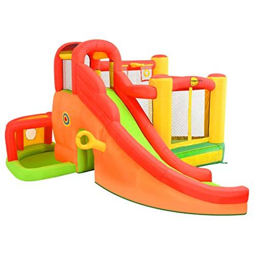 Gecheer Aufblasbare Hüpfburg mit Rutsche Happy Hop Kinderspielplatz Garten 450 x 380 x 230 cm (L x B x H) Gewicht: 24 kg
