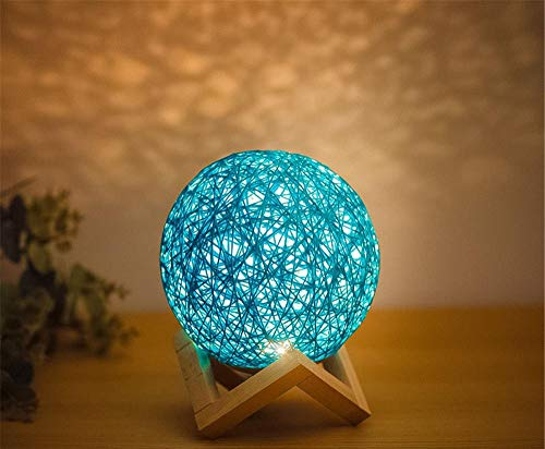Christmas Decoration Gifts 3d Night Light Solid Wood Sepak Takraw Table Lamp Romantic Starry Sky Creative-Blue button