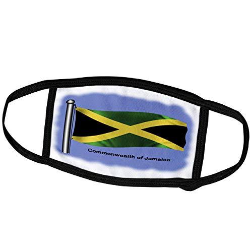 Promini Monatsmaske – Bilder Flaggen und Karten – Nordamerika – Jamaika-Flagge für das Commonwealth von Jamaika winkt auf einem blauen Hintergrund – Staubmaske Outdoor-Schutzmaske