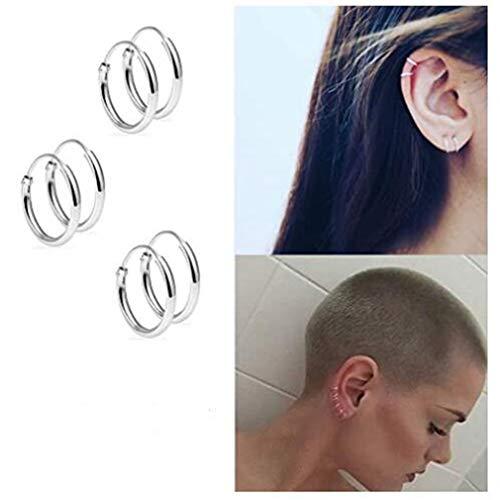 SHIYUE Damen Ohrringe Kleine Creolen Aus Aluminium, Elegante Huggie-Ohrringe Für Frauengeburtstagsgeschenk,Silber # 01