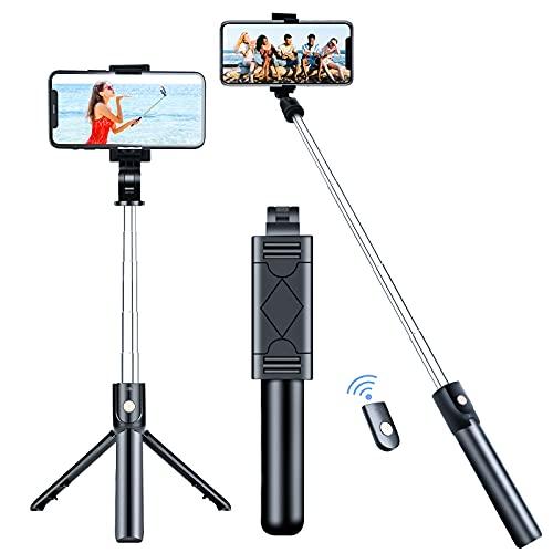Palo selfie para selfie con Bluetooth, 3 en 1, giratorio 360°, mini palo de selfie extensible, de aluminio, compatible con iPhone 12 Pro Max, 12 Mini, 11 Pro Max, Samsung S20 Plus, Huawei, etc. ⭐