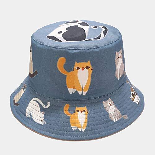 MTBDLYQ Chapeau De Pêcheur Femme,Unisex Fisherman Hat Cartoon Animal Cat Print Men Women Réversible Bucket Hat Hip Hop Cap, Automne Casual Voyage Bleu Foncé Chapeau De Pêche